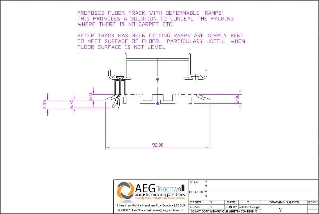 Drawing of Floor Track for Sliding Walls
