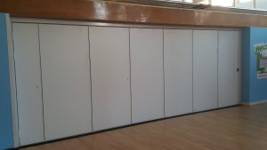 Closed Sliding Wall Partition in School Hall