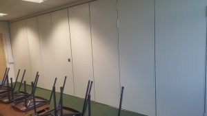 Closed Sliding Walls In A Classroom