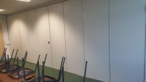 sliding partition closed in classroom