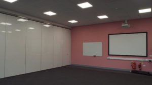 closed movable wall in classroom