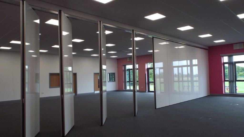 half closed movable wall and angled partitions
