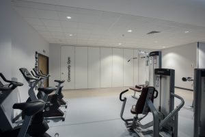 Closed Sliding wall partitions in gym