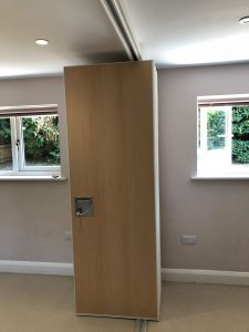 Wooden style sliding partition fully open