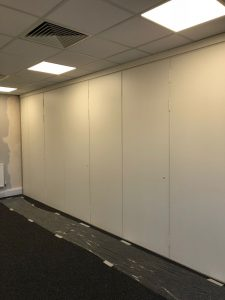 white sliding partition closed
