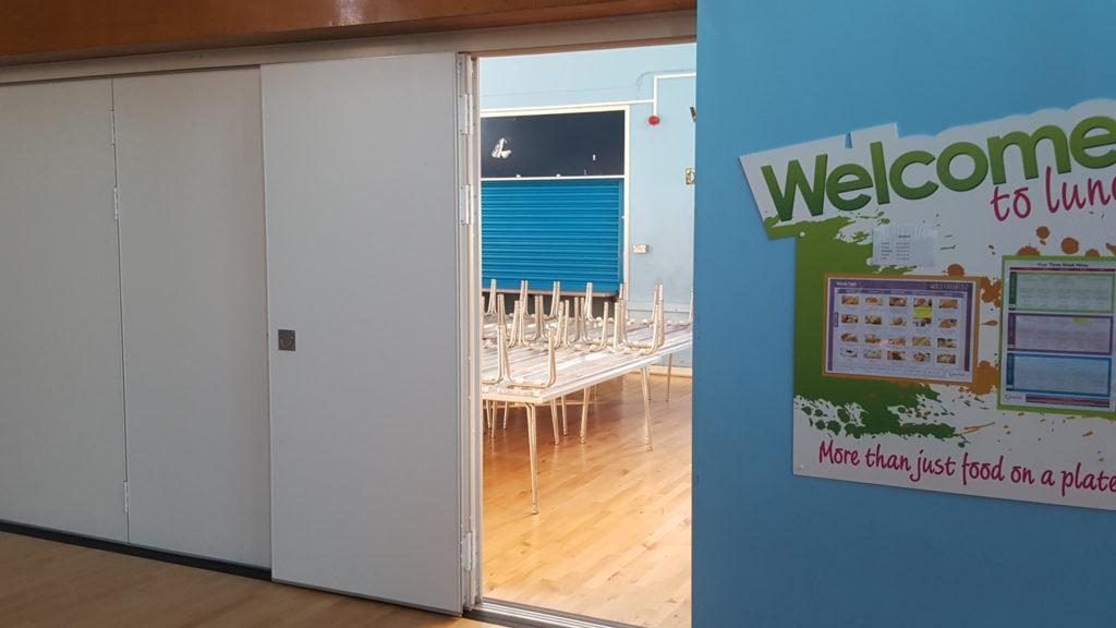 Door in canteen open via Sliding Wall Partition