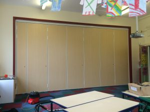 classroom in school with sliding partition fully closed