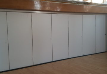 Closed White Sliding Wall