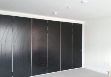 Closed Grey Acoustic Sliding Wall