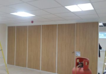 Installation Of Acoustic Sliding Wall in Bellfield School