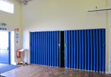 Blue Concertina Walls in School Hall