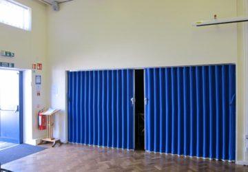Blue Concertina Walls in School Hall