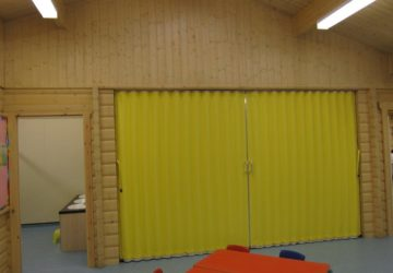 Yellow Concertina Partition for Storage Room