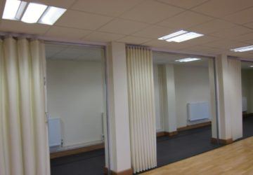 White Concertina Walls split by Structure Stand