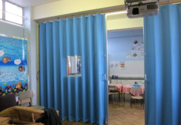 Concertina Partions to Split School Hall into 2